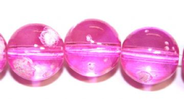 30pieces x 14mm Candy pink colour round shape bubble gum glass beads / speckled glass beads -- 3005135